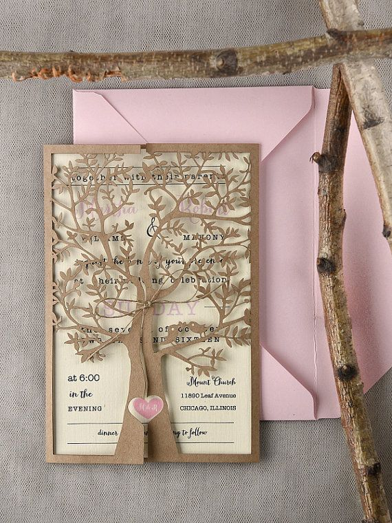 Custom Listing 20 Rustic Wedding Invitation Laser Cut Tree Pink Eco Invitations Heart