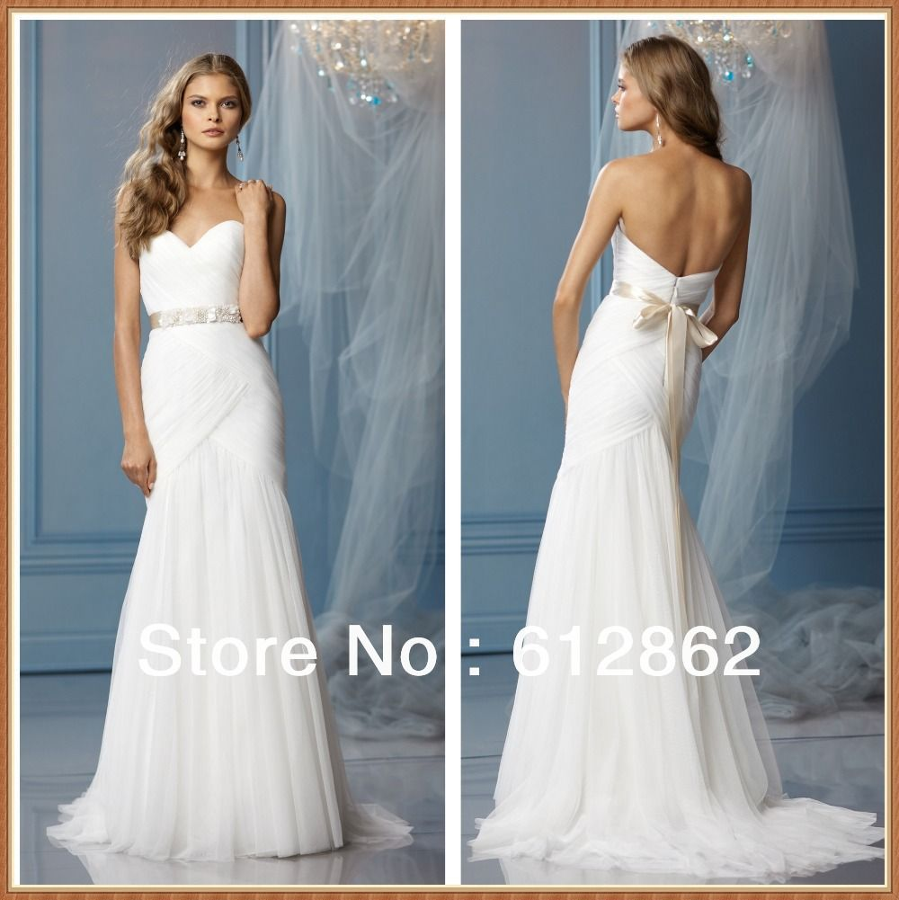 Strapless Sweetheart Low Back Ruched Tulle Long Train Princess | We ...