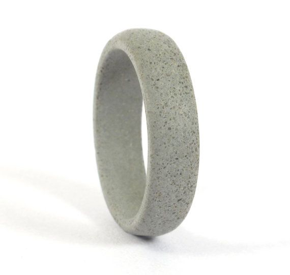 Womens grey concrete ring Unique and industrial round wedding band