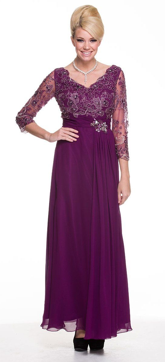Modest Plum Long Formal Dress Lace Sleeves Mid Length V Neck Mid