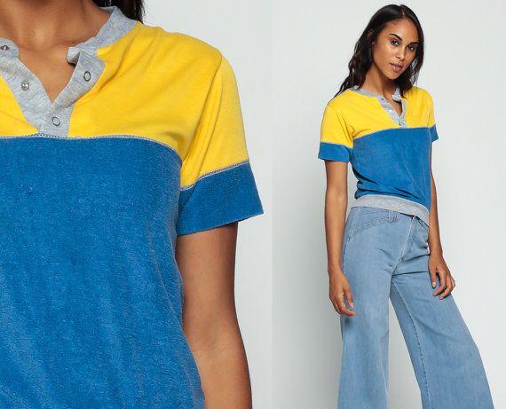 70s shirt terry cloth shirt half button up polo tshirt for Terry cloth polo shirt