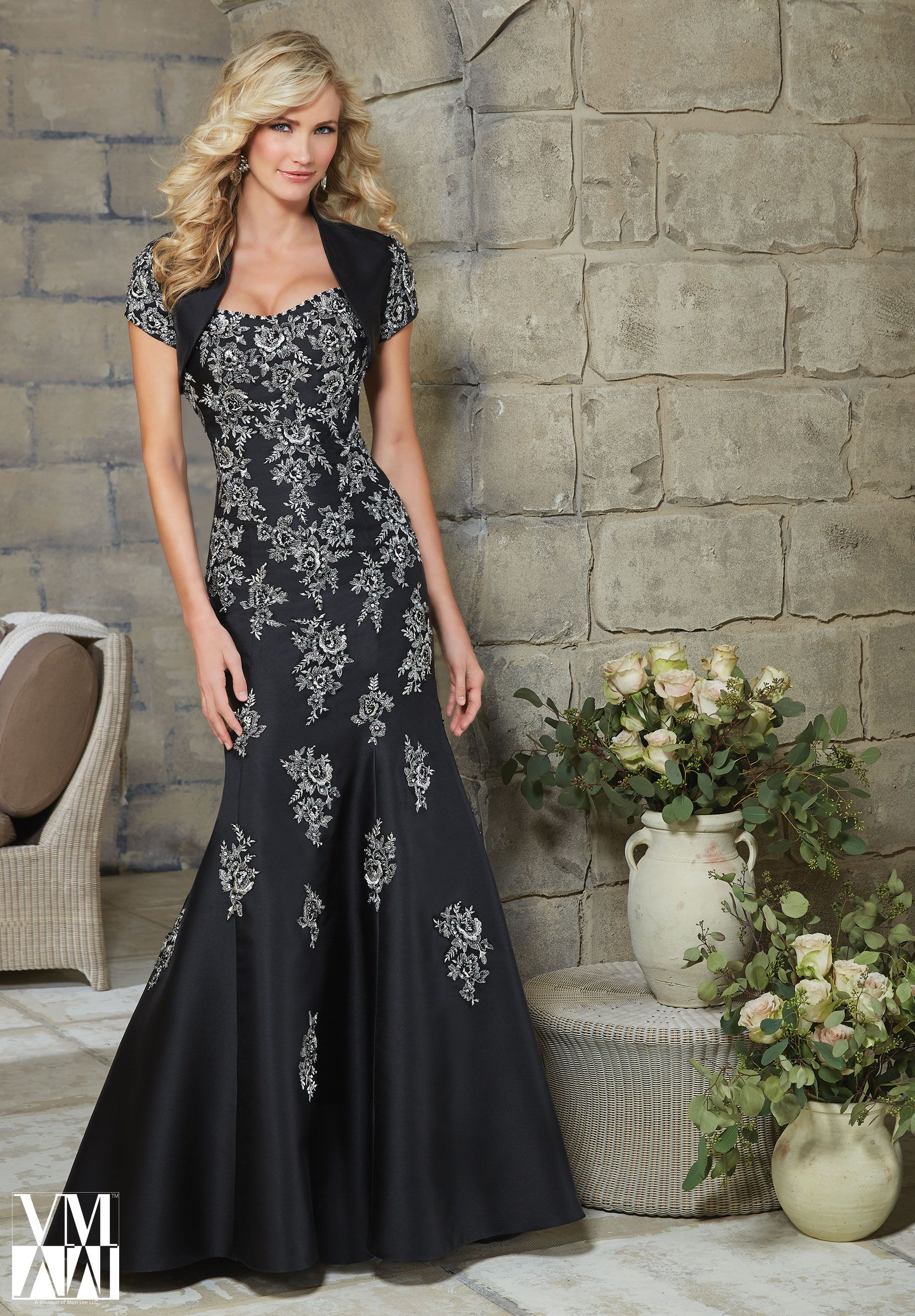 Evening Gown 71220 Beading on Embroidered Appliques on Larissa Satin ...