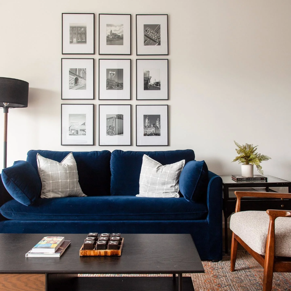 Pin On Apartment Blue Couch Living Room Blue Sofas Living Room Velvet Couch Living Room