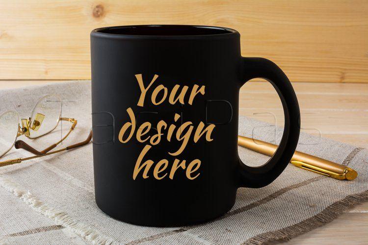 Black Coffee Mug Mockup With Glasses And Pen 59994 Mockups Design Bundles In 2021 Design Mockup Free Free Psd Mockups Templates Psd Mockup Template