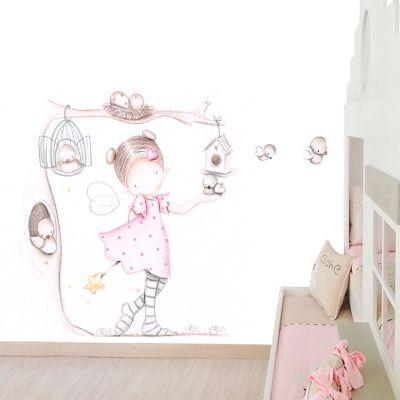 Decoraci n infantil il mondo di alex papel mural efecto pintado a mano hada en arbol con - Papel pintado a mano ...
