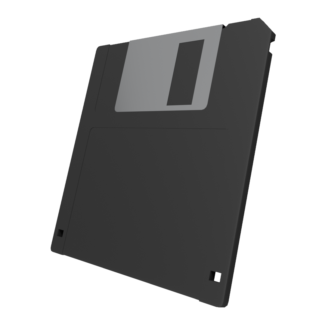 Low Poly 3 5 Floppy Disk Black Floppy Disk Free Game Assets Disk