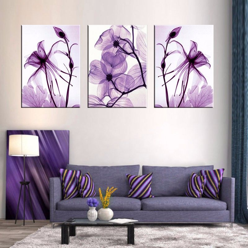 Combined 3 Pieces New Purple Flower Wall Art Painting Print On Canvas Abstract Flower Wen Canvas Wall Purple Wall Art Purple Wall Art Bedrooms Bedroom Wall Art