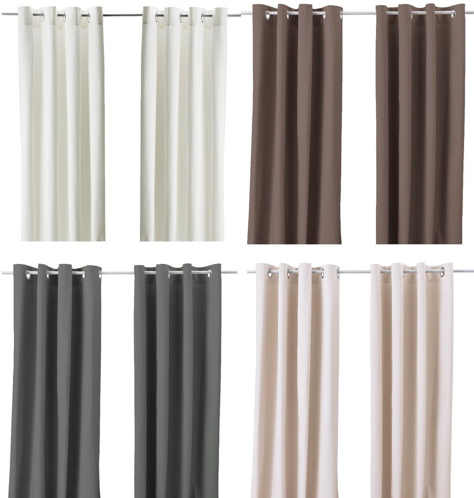 Details About Ikea Merete Pair Of Curtains 2 Panels Brown Purple ... Beige Wei Ikea
