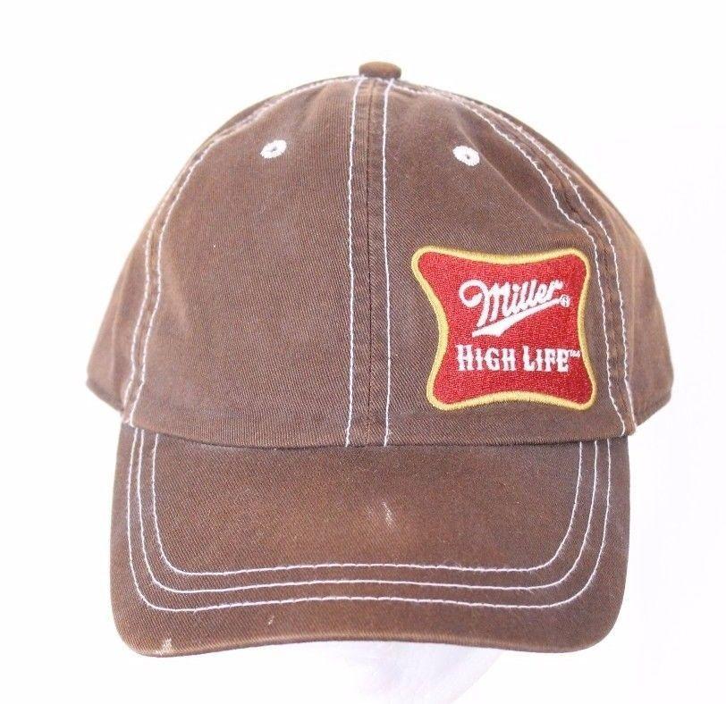 Bowtech Hats: Miller High Life Brown Ball Cap Trucker Hat Adjustable Bio