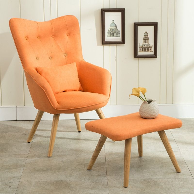 Mid Century Modern Armchair And Footstool Set In Linen Upholstery