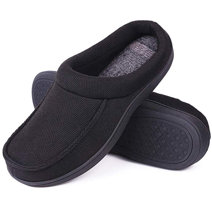 b5c80341c24d LongBay Men s Memory Foam Clog Slippers Warm Comfy Wool Cloth Slide House  Shoes for Indoor