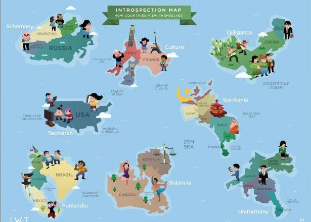 Introspection map how countries view themselves mapa de the world map were redrawn by personality types see how the world view other countries gumiabroncs Choice Image