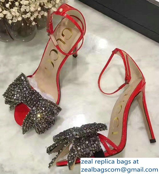 0c89852ffa399 Gucci Heel 10.5cm Patent Leather Sandals With Removable Crystal Bow 480458  Red 2017