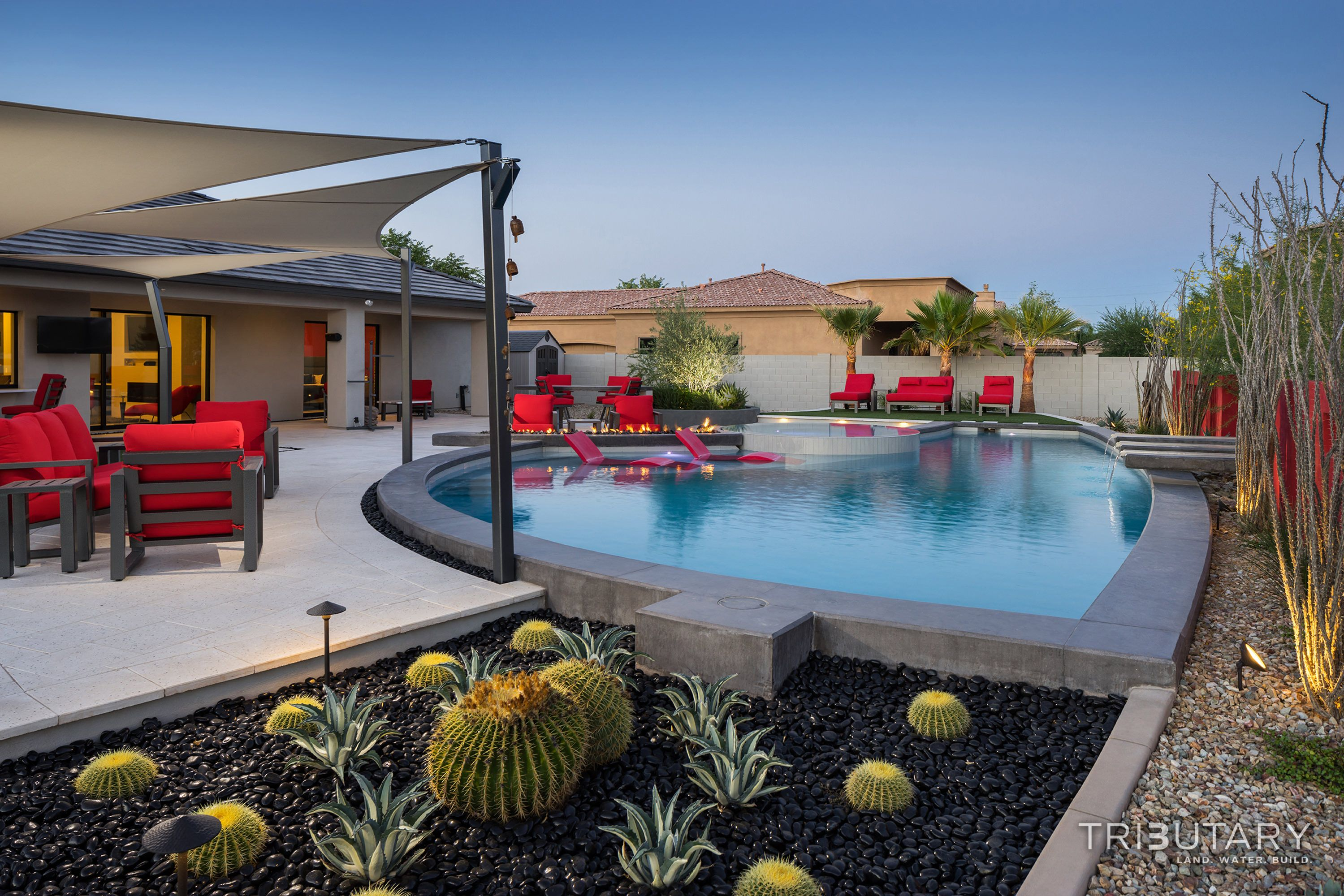 Tributary Pools Custom Pool Sleek Oasis Gilbert Diy Network Pool Kings Gilbert Arizona Paradise Luxury Pool Jeromey Naugl In 2020 Luxury Pools Custom Pools Luxury Pool