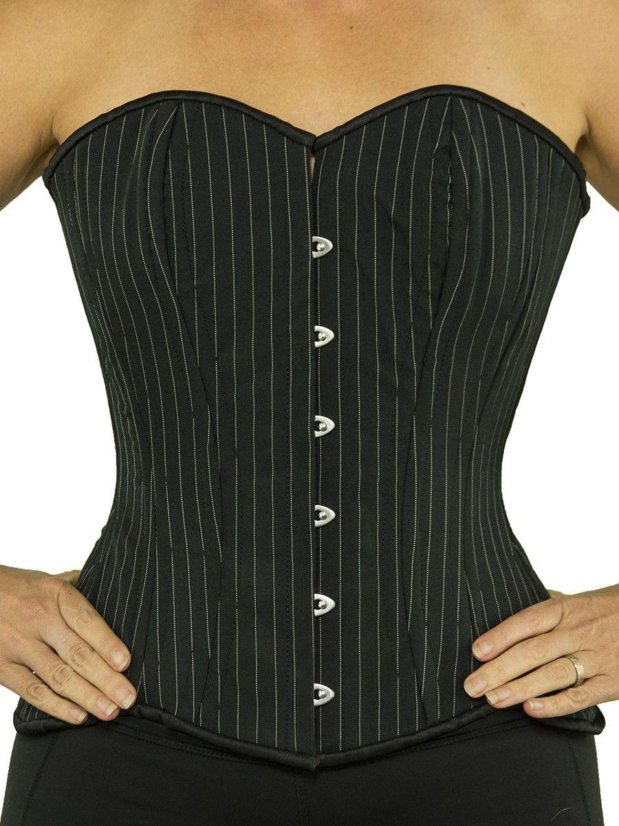 93fefe45671 Plus Size Steel-Boned Overbust Black W  White Pinstripes Corset (CS-511)