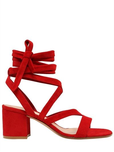 ab15d859969 GIANVITO ROSSI - 60MM LACE UP SUEDE SANDALS - RED