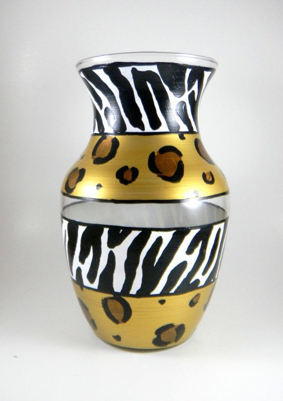Animal Print Vase Hand Painted Cheetah By Impulsivecreativity