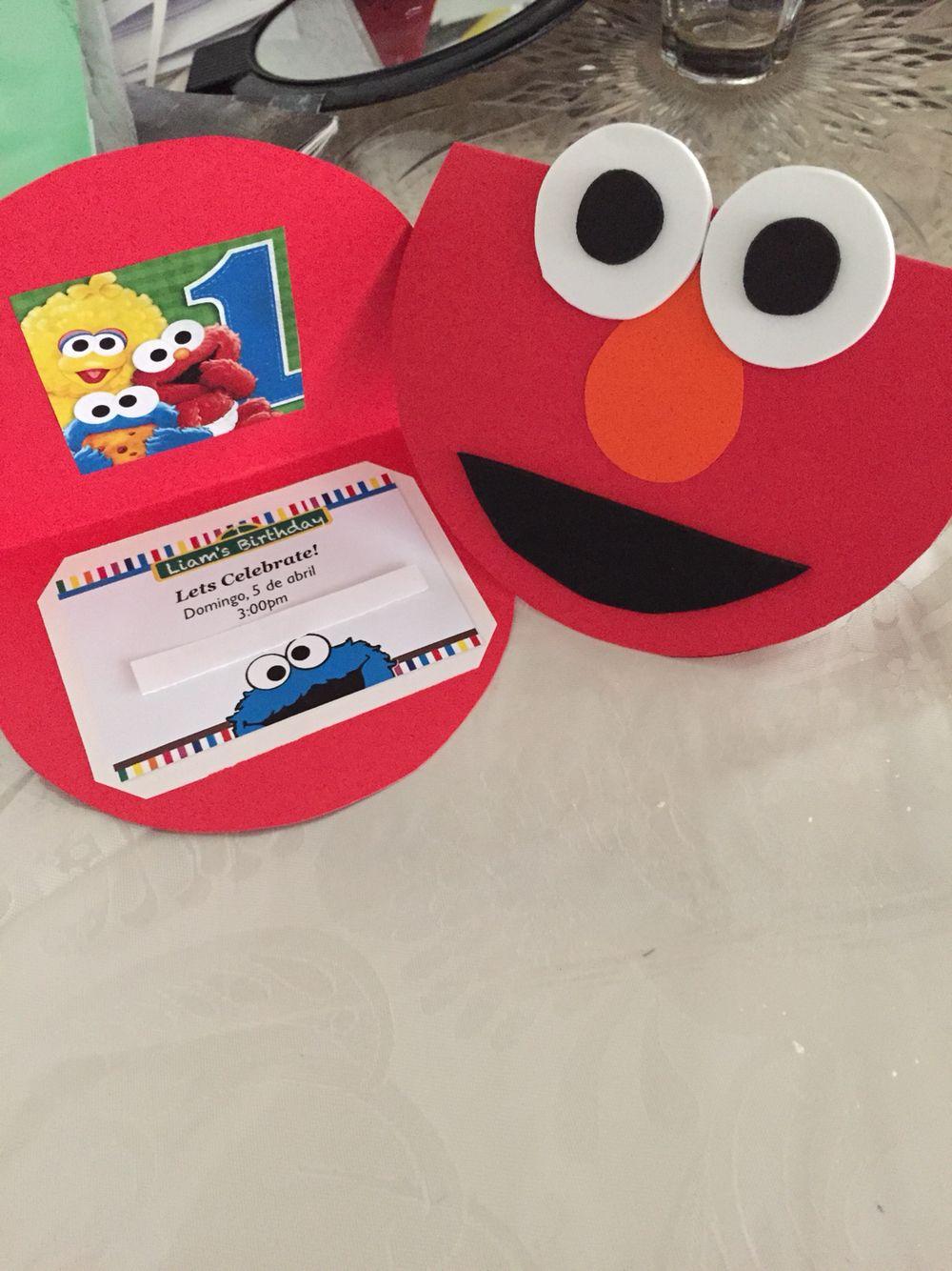 DIY Elmo birthday invitations I made for my son\'s first birthday ...
