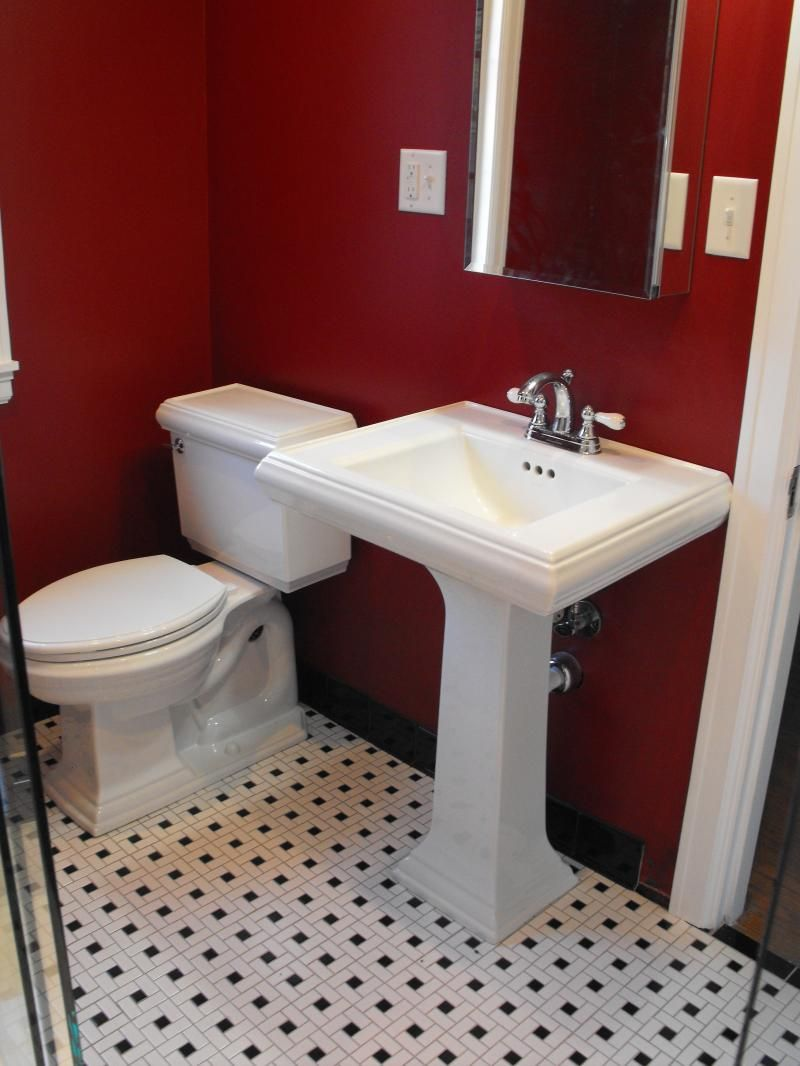 Http Kinzblog 8796 Ealling Red Bathroom Decoration Ideas Modern Small With Dark Wall Color Also White Sink And Toilet