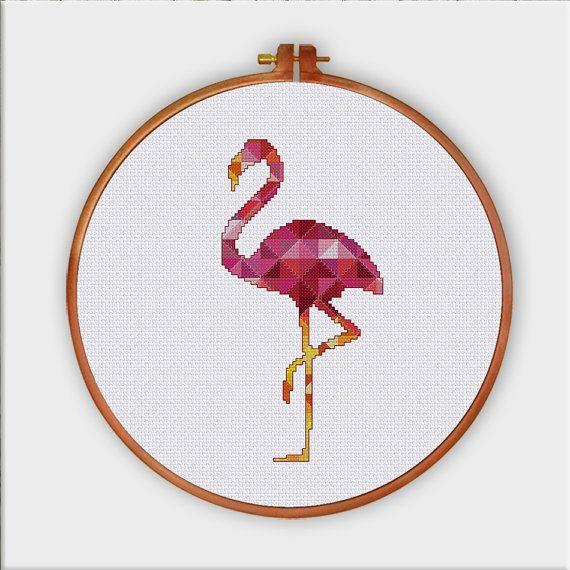 Flamingo geométrico punto de cruz patrón Moderno por ThuHaDesign ...