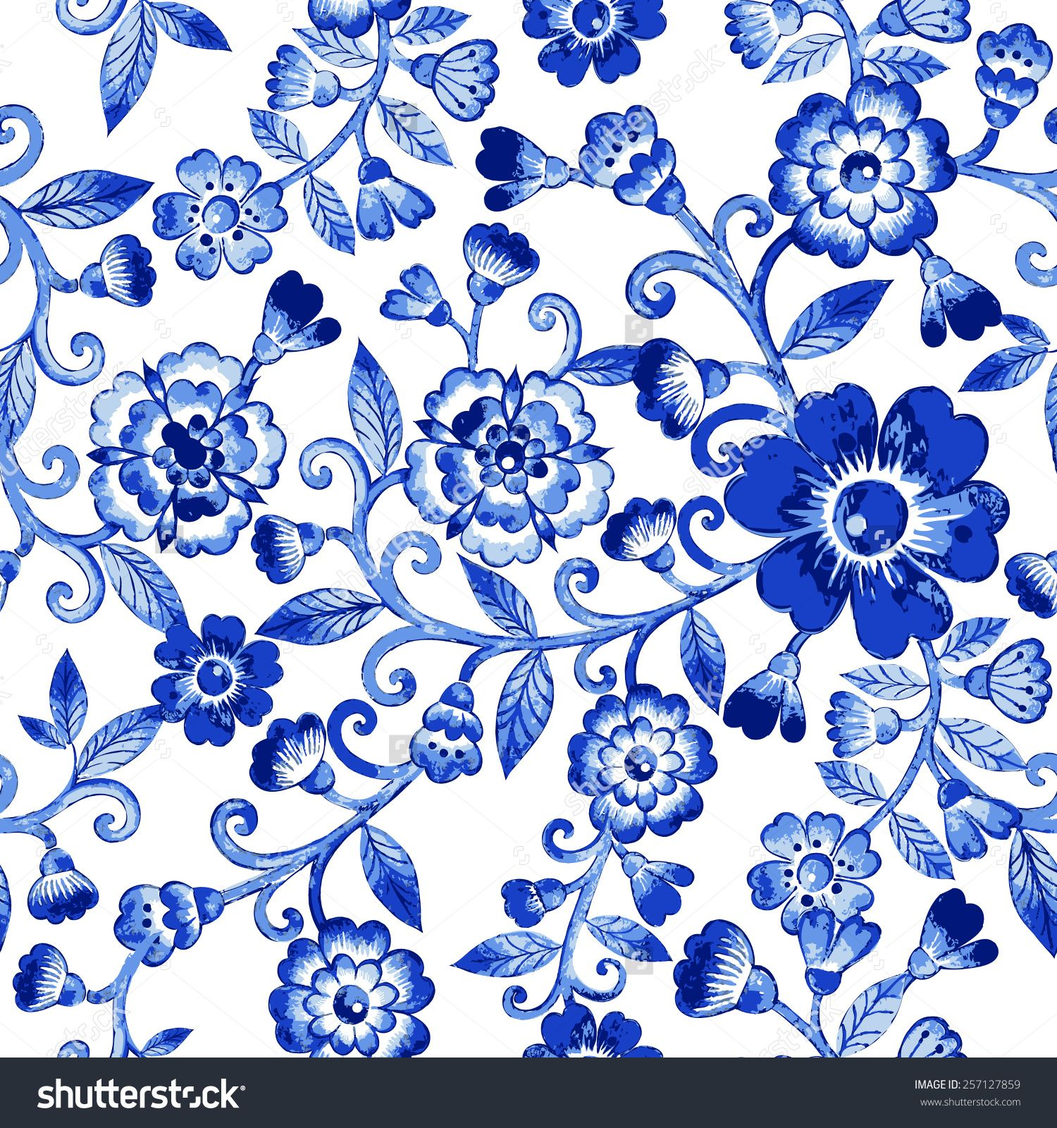 Vector Floral Watercolor Texture Pattern With Blue Flowers