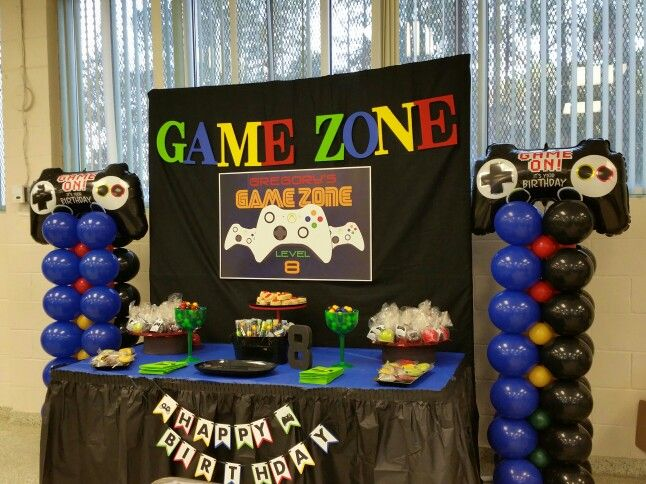 Game On Playstation Zone For Birthday Party By Ebc Balloon Columns