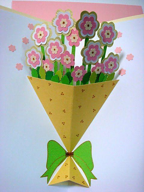 How To Make A Flower Basket Pop Up Card : Lin handmade greetings card pop up flower bouquet
