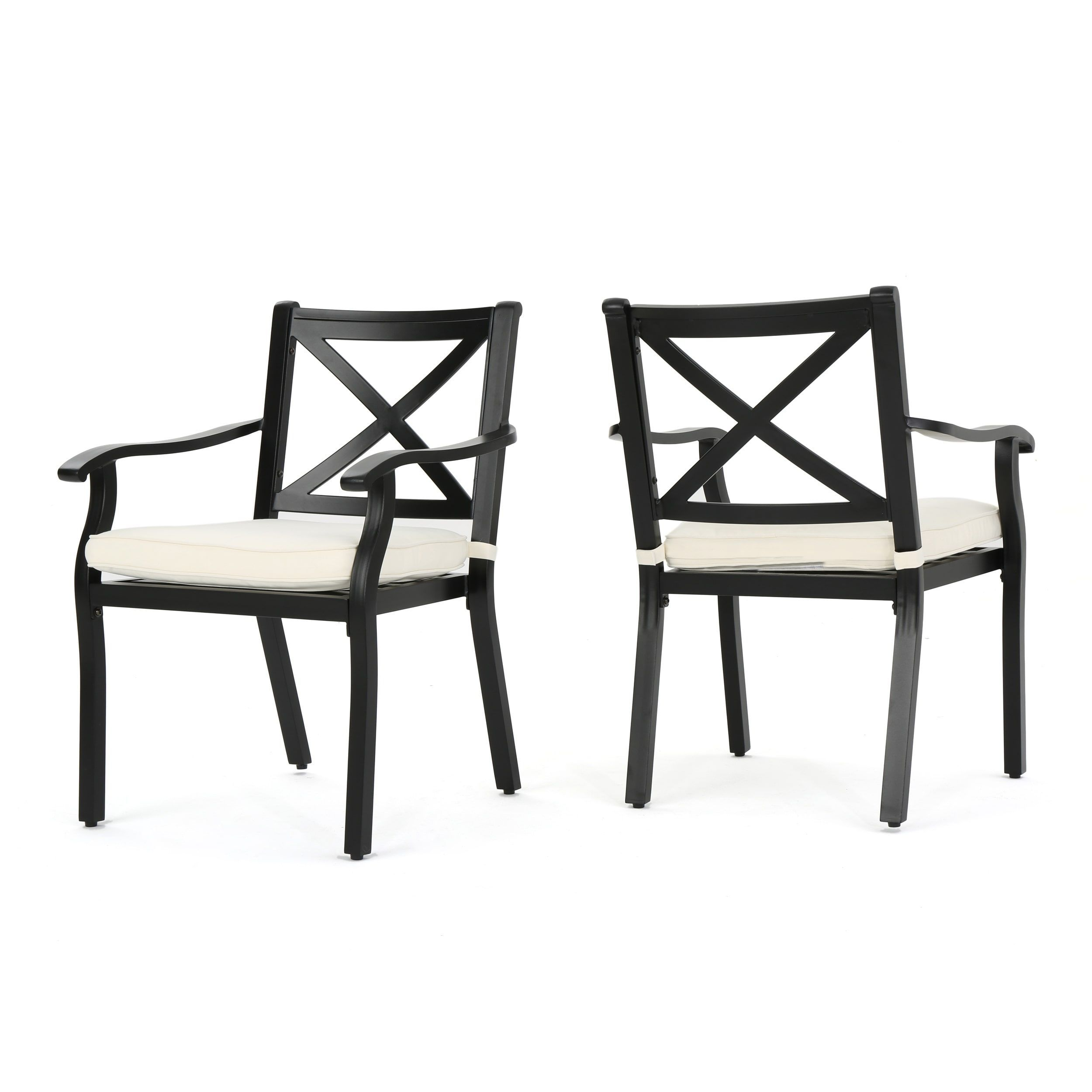 Exuma Outdoor Black Cast Aluminum Dining Chairs With Ivory Water