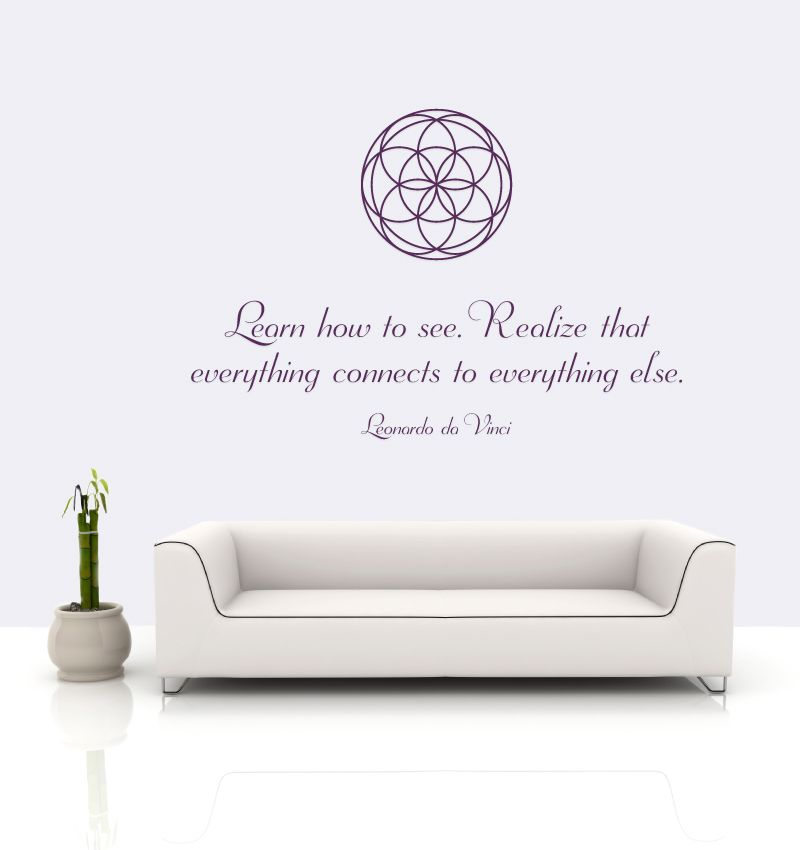 details zu wandtattoo aufkleber blume des lebens leonardo da vinci zitat lebensblume yoga. Black Bedroom Furniture Sets. Home Design Ideas