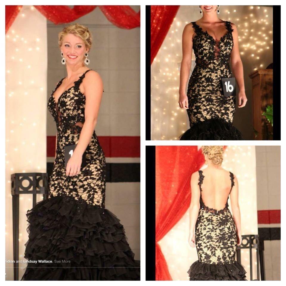 Pageantformalprom dress macduggal r size black lace long