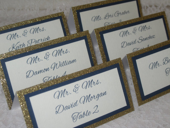 Gold Glitter Navy Blue And Ivory Tented Place Cards Escort Name Wedding