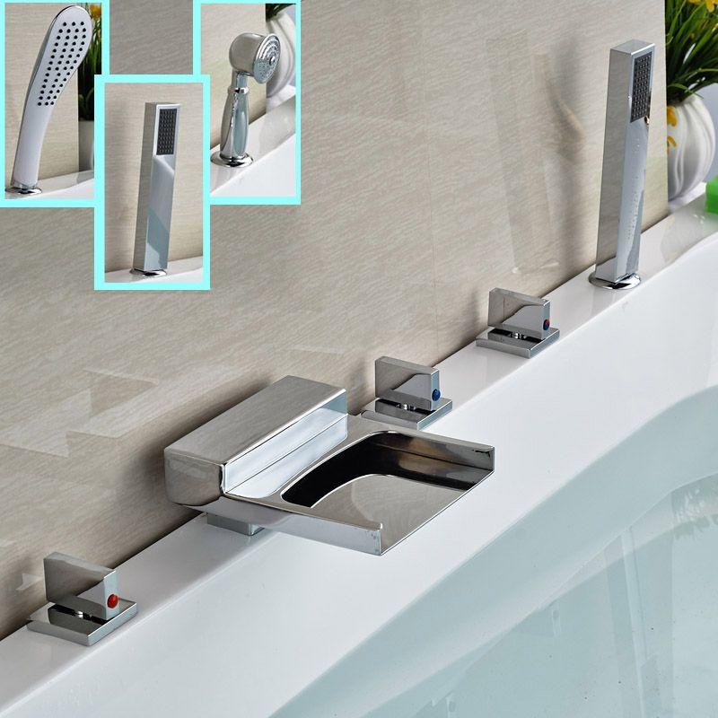 Modern Widespread 5 Holes Waterfall Bathtub Mixer Faucet Deck