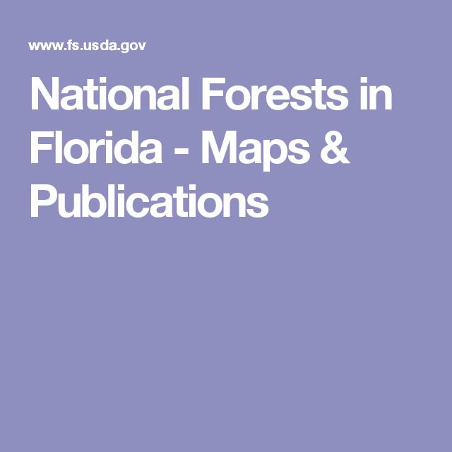 National Forests In Florida Maps Publications Into The Mystic