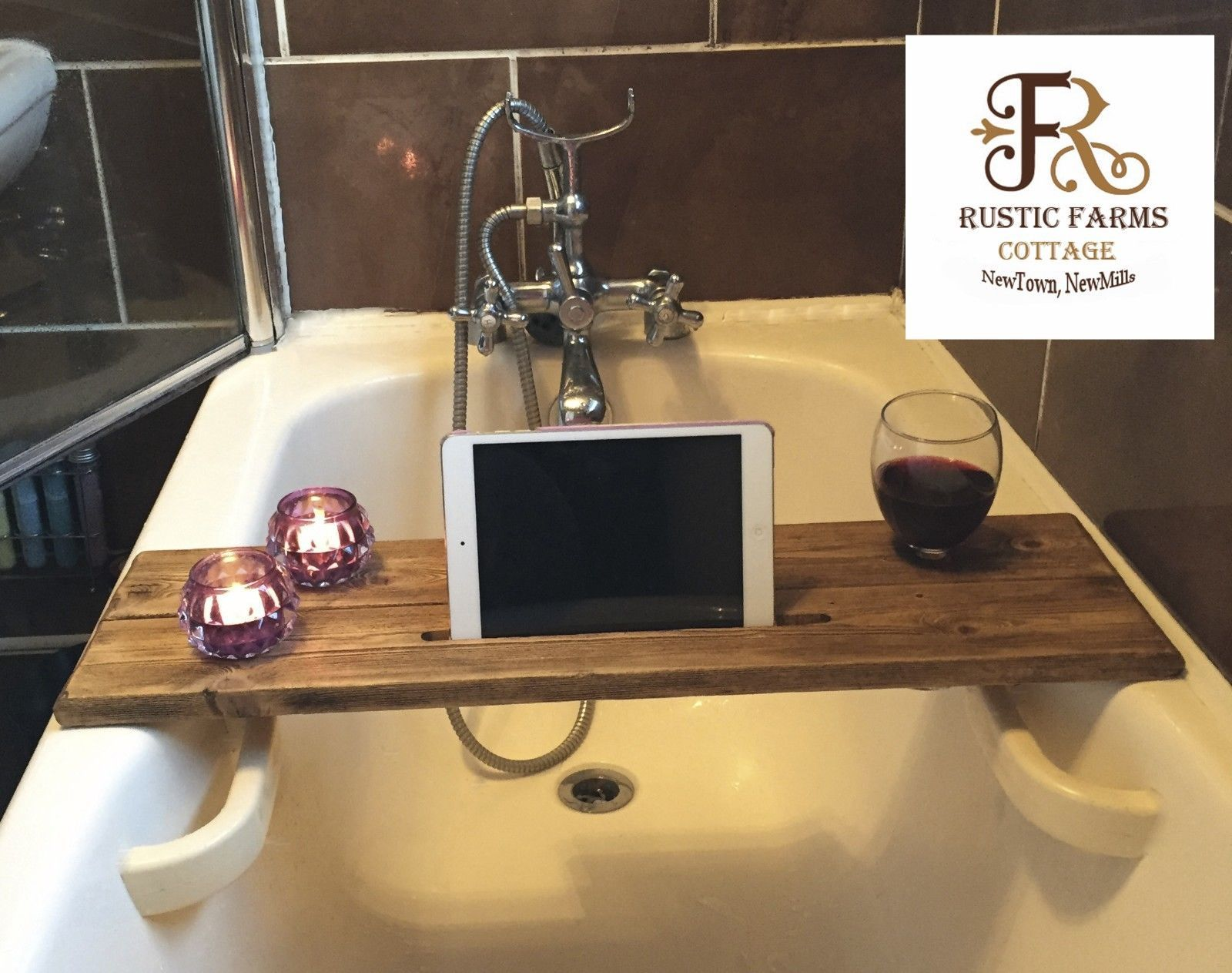 Rustic Farm cottage bath shelf caddy Ipad holder and wine holder ...