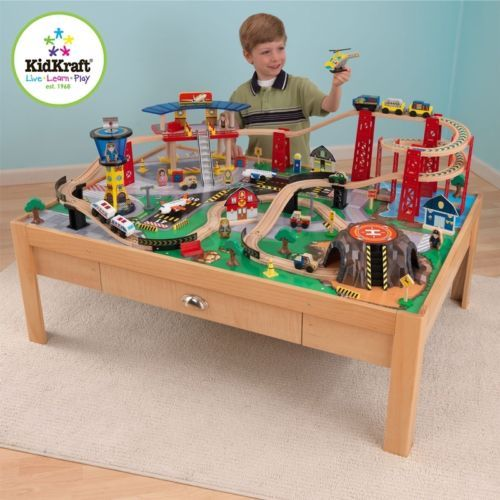 Merveilleux Kidkraft Airport Express Train SET AND Table Kids Boys TOY Track Wooden NEW  | EBay