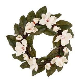 Photo of Glitzhome 24″D Artificial Magnolia Wreath Set (Magnolia Wreath with Window Frame), Brown(Plastic)