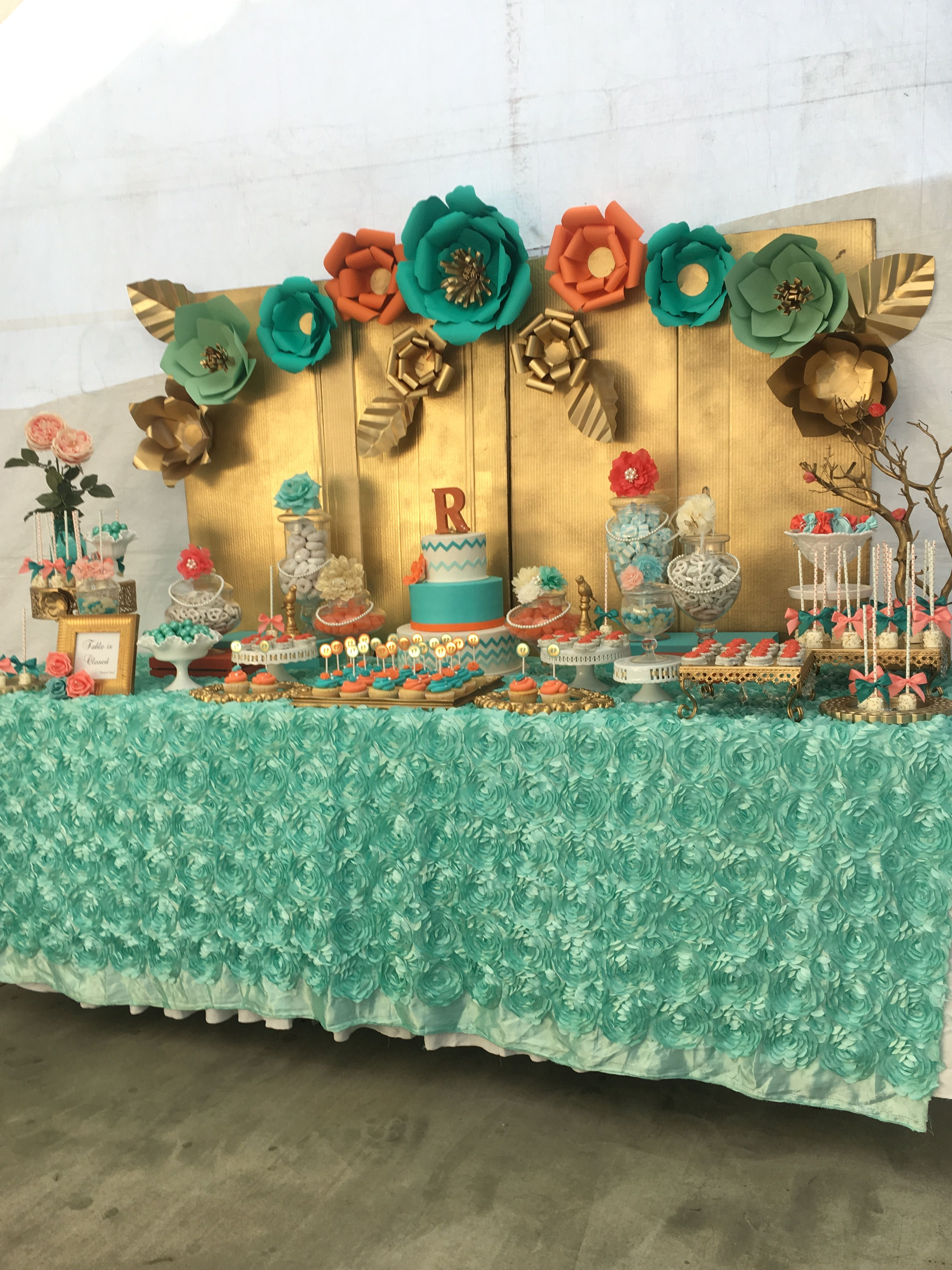 Candy Table With Paper Flower Backdrop Gold Corral Birthday Candy Table Candy Buffet Backdrop Diy Candy Buffet