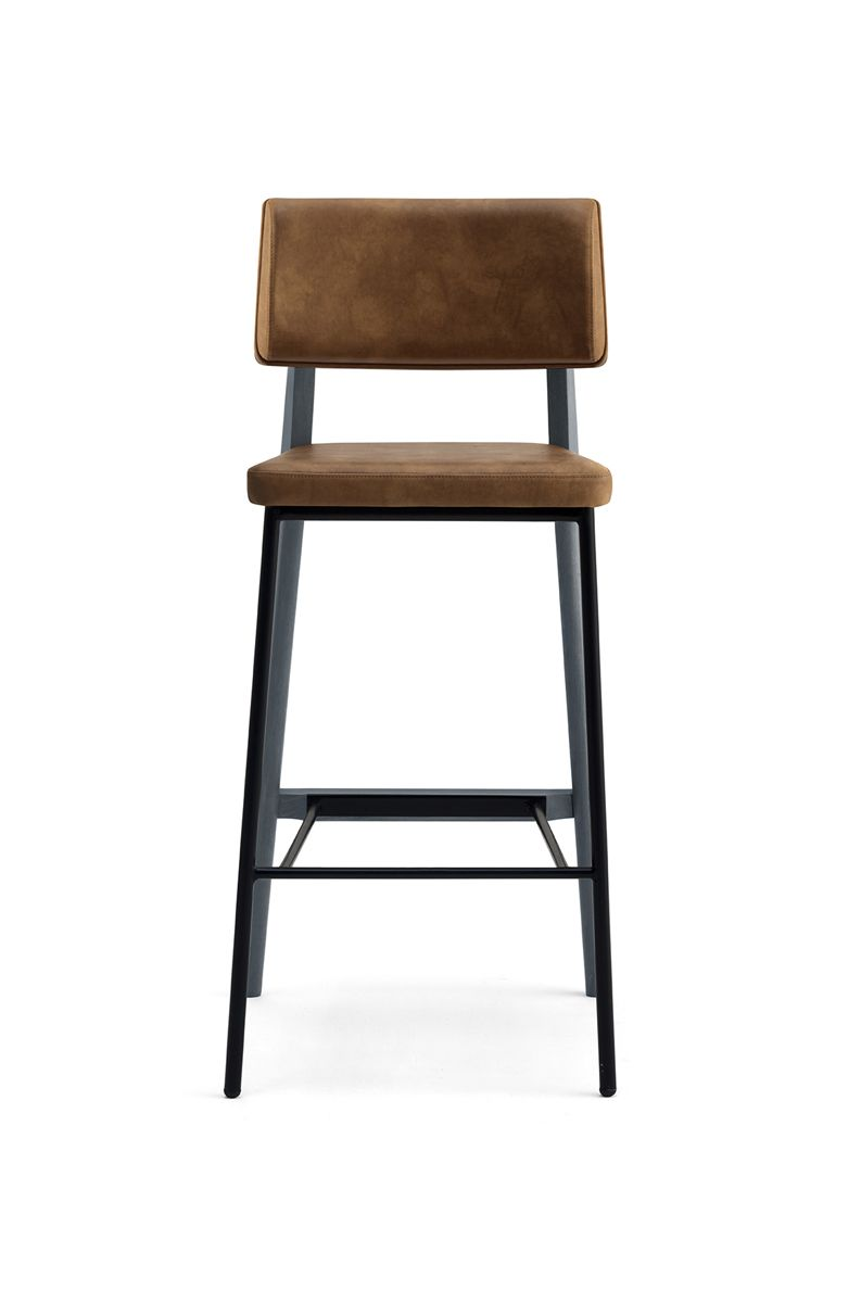 Oakland Sg Barstool Half Metal And Half Timber Frame Seat And Back Upholstered In Fabric Faux Leather Or R Bar Stools Commercial Bar Stools Oakland Bars