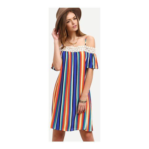 Multicolor Striped Off The Shoulder Shift Dress (283.260 IDR