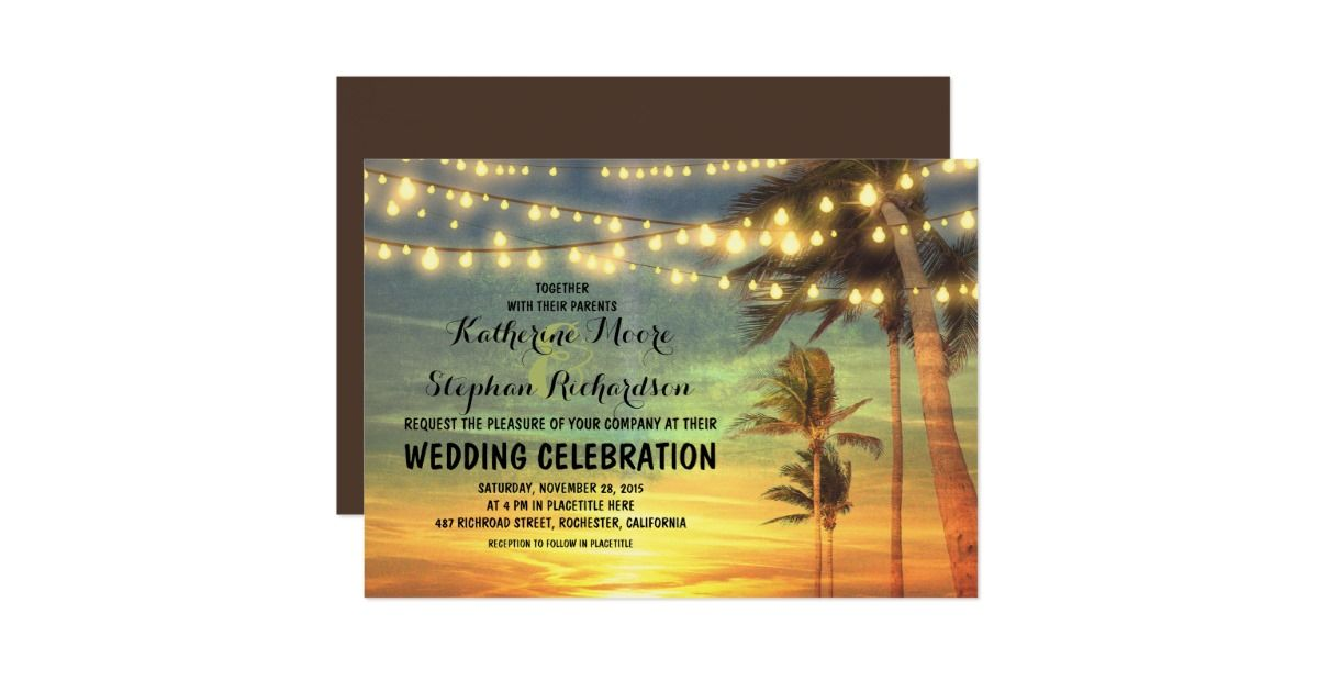 Beach sunset and string lights wedding invitation | Sunset, Beach ...