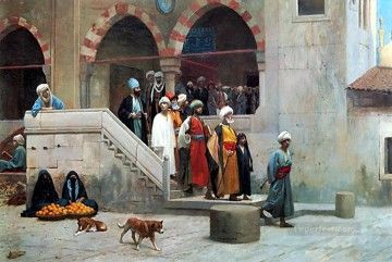 Arab Painting - Leaving the Mosque Arab Jean Leon Gerome