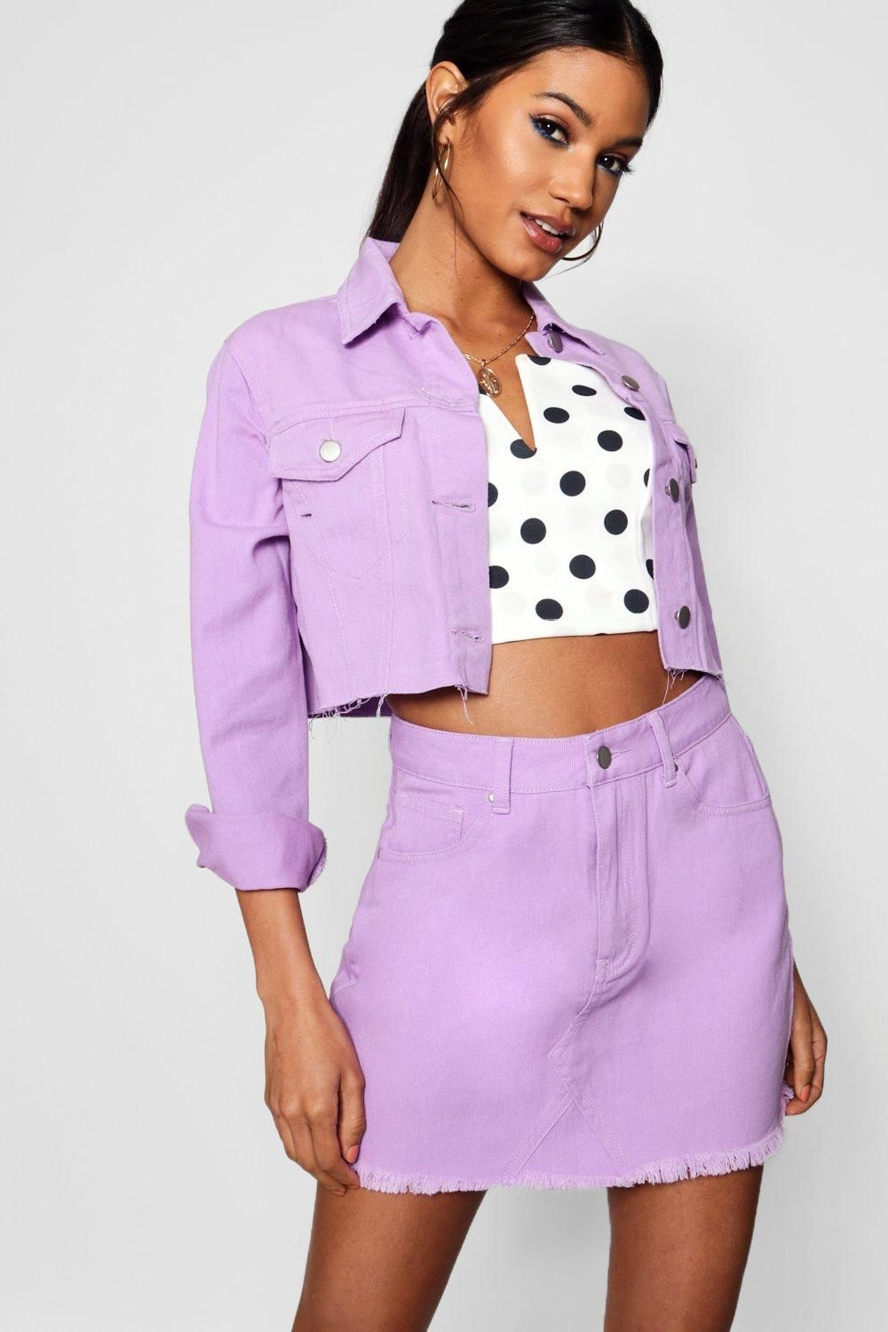 cd6bf1cc7 Click here to find out about the Rebecca Lilac Distressed Denim Mini Skirt  from Boohoo, part of our latest NEW IN collection ready to shop online  today!