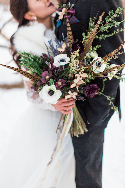 Burgundy And Blue Winter Wedding Ideas From Maine Feather Bouquet Wedding Flower Bouquet Wedding Bridesmaid Flowers