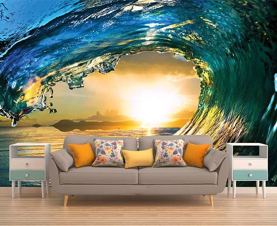 Wave Wall Decal Sunset Wall Mural Peel And Stick Vinyl Etsy In 2020 Wallpaper Bedroom Feature Wall 3d Wall Murals Wall Murals