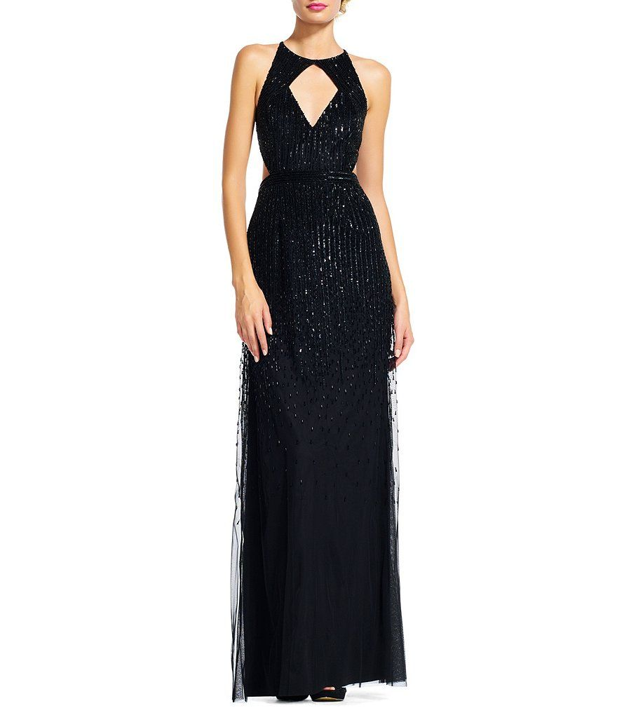 Adrianna papell ombre beaded halter neck gown en vogue luautomne