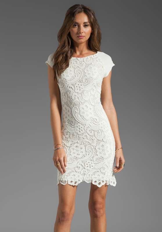 dd22e881c8 Vestidos cortos de encaje color blanco para fiesta de día…