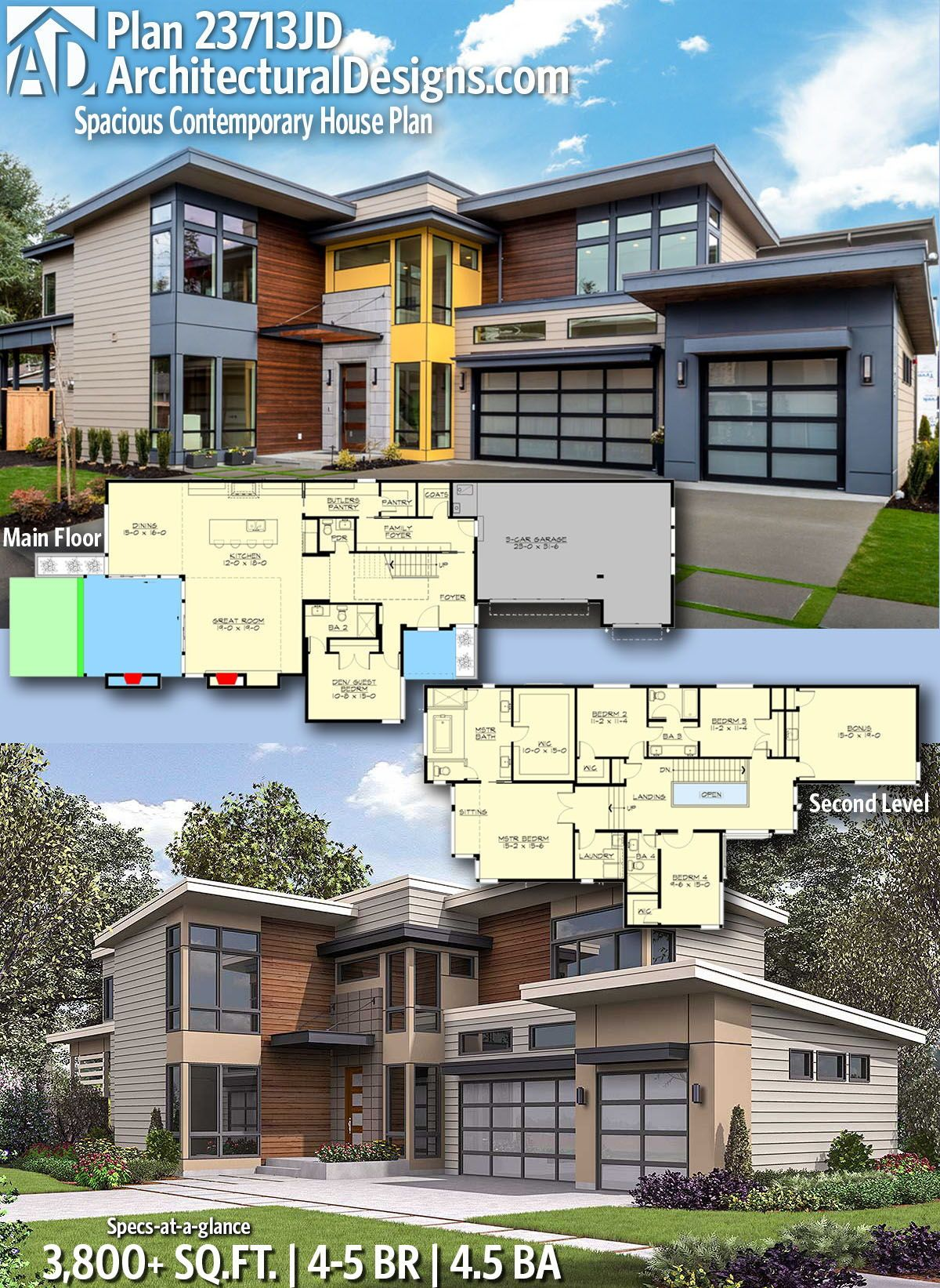 Plan 23713jd Spacious Contemporary House Plan In 2020 Contemporary House Plans Modern House Floor Plans Contemporary House