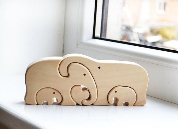 Tier Puzzle - Holz Elefanten Familie - Puzzle Spielzeug - Wooden - küche aus holz