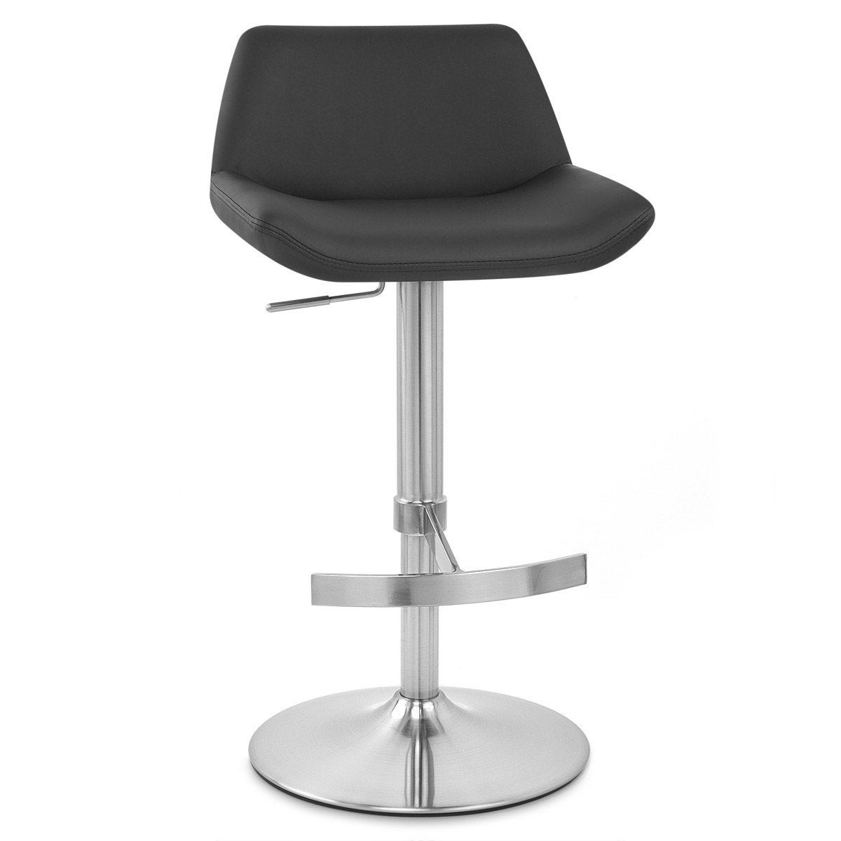 Tabouret De Bar Chic Simili Cuir Noir Christina Mdt