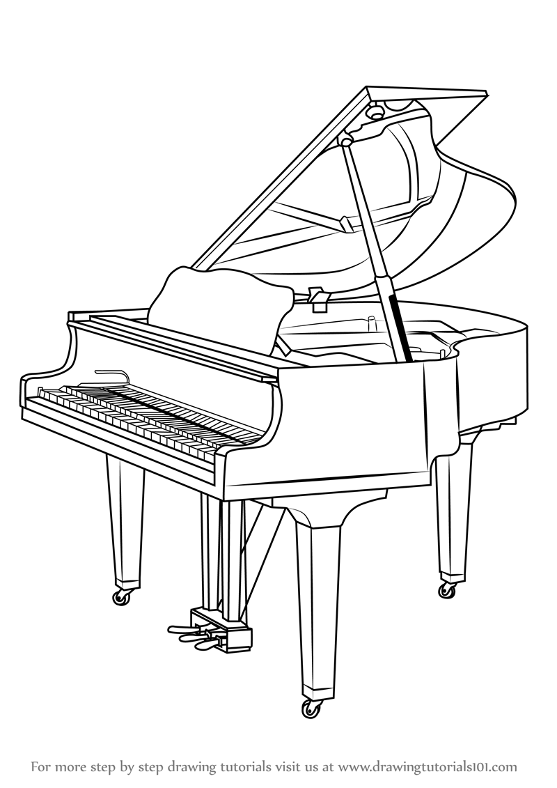 learn how to draw a grand piano (musical instruments) step by step